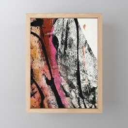 Motivation [2] : a colorful, vibrant abstract piece in pink red, gold, black and white Framed Mini Art Print