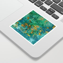 Malachite and Gold Glitter Stone Ink Abstract Gem Glamour Marble Sticker