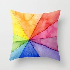 Rainbow Watercolor Geometric Pattern Throw Pillow