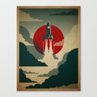 spaceship Canvas Prints featuring The Voyage by Danny Haas