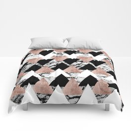 Modern Black White Rose Gold Triangles on Marble Comforters