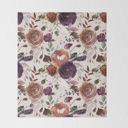 Bohemian orange violet brown watercolor floral pattern Throw Blanket