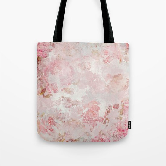 Vintage Floral Rose Roses painterly pattern in pink on #Society6 Tote Bag