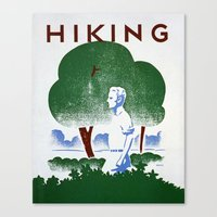 hiking Canvas Prints featuring Hiking by vigrre