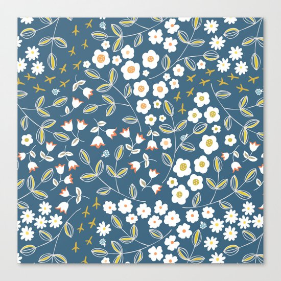 Ditsy Blue Canvas Print