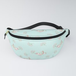 Christmas birds - Bird pattern on turquoise background Fanny Pack