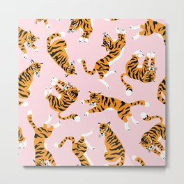 Cute tiger in the tropical forest hand drawn on pink background illustration Metal Print
