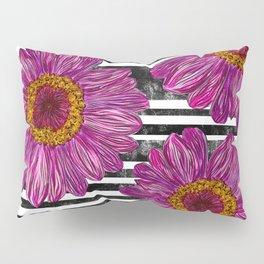 Pink Ink Flowers on Black & White Stripes Pillow Sham