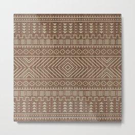 Traditional Brown Farmhouse Oriental African Moroccan Artwork Metal Print