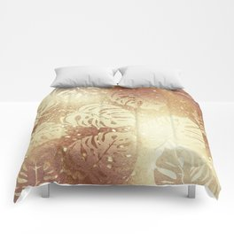 Whisper-Gold Palm Leaves Pattern Comforters