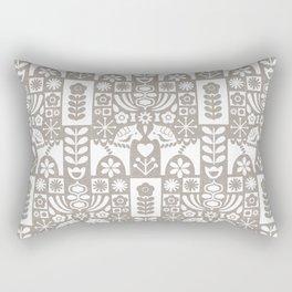 Swedish Folk Art - Warm Gray Rectangular Pillow