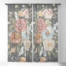 Roses and Poppies Bouquet on Charcoal Black Sheer Curtain