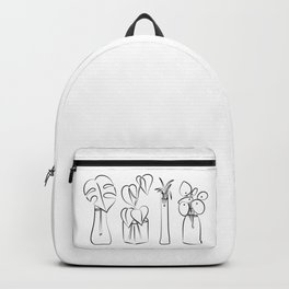 Plants in water bottles, black and white hand drawn illustration art Backpack