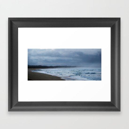 Fisherman at shore Framed Art Print