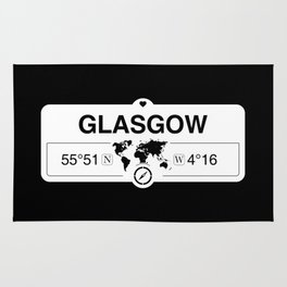 Glasgow Scotland GPS Coordinates Map Artwork with Compass Rug