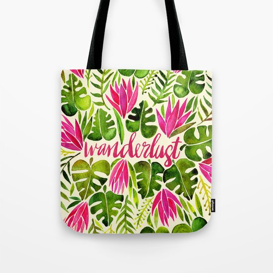 Tropical Wanderlust – Pink & Lime Tote Bag