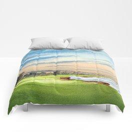 Pebble Beach Golf Course 18th Hole Comforters