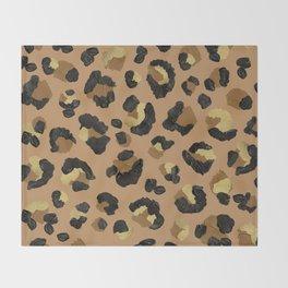 Leopard Print – Neutral & Gold Palette Throw Blanket