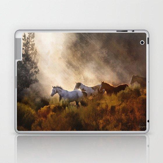 Horses in a Golden Meadow by Georgia M Baker Laptop & iPad Skin