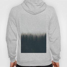 Moody Black & White Pine Misty Foggy Forest Minimalist Landscape Photography Hoody