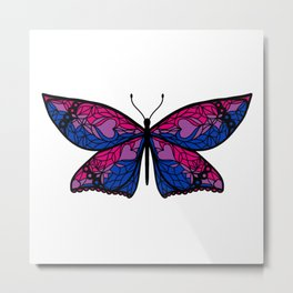 Fly With Pride: Bisexual Flag Butterfly Metal Print