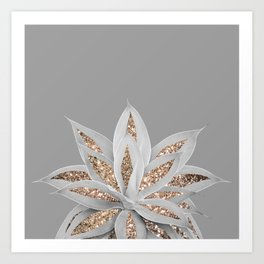 Gray Agave with Gold Glitter #1 #shiny #tropical #decor #art #society6 Art Print