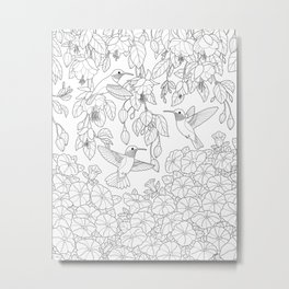 Hummingbirds and Flowers Coloring Page Metal Print