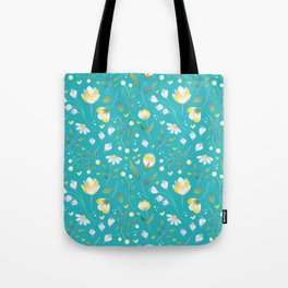 Colourscape Summer Floral Pattern Turquoise Lemon Tote Bag