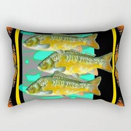 MODERN  MONARCH BUTTERFLIES FISH BLACK  AQUATIC  COLLAGE Rectangular Pillow