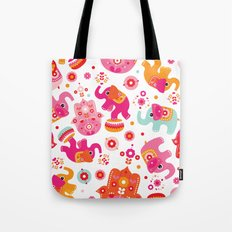 Colorful oriental elephant and hamsa pattern Tote Bag