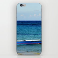 Blue boat red stripe in ocean water color photography iPhone & iPod Skin