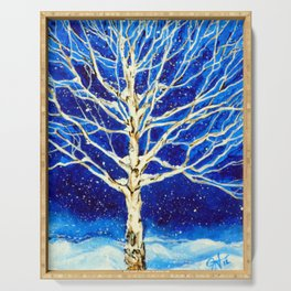 Aspen Quaking Quakie Tree Rocky Mountain Snowing Snow Winter Scene Blue Night Snowy Christmas Card  Serving Tray