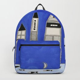 Tiny houses and fish in blue Backpack