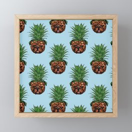 Pineapple English Bulldog Framed Mini Art Print