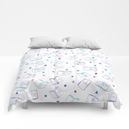 Classic Book Doodles Purple & Blue Comforters