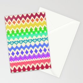 Ikat Pattern in Rainbow Colors on Cream Stationery Cards