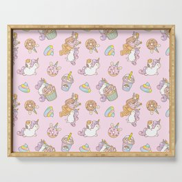 Bubu and Moonch, kawaii Guinea pig and unicorn pattern in pink  Serving Tray