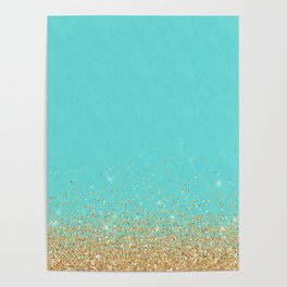 Sparkling gold glitter confetti on aqua teal damask background Poster