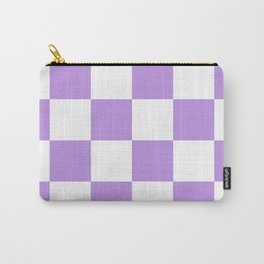 Large Checkered - White and Light Violet Carry-All Pouch
