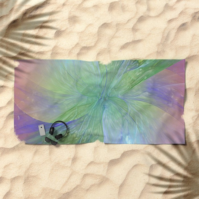 Mystic Warmth Abstract Fractal Beach Towel