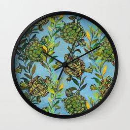 Slider Turtle Pattern by Robert Phelps Wall Clock