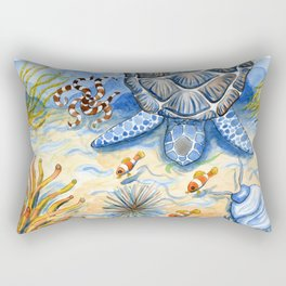 Sea Turtle - Bottom of the Sea Watercolor Painting Rectangular Pillow