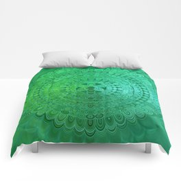 Green Mandala Circle Comforters