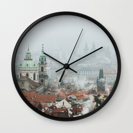 Cold Mornings over Prague Wall Clock