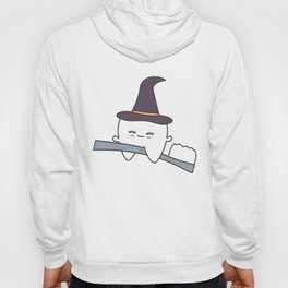 cute cartoon tooth with witch hat flying on toothbrush funny halloween illustration Hoody
