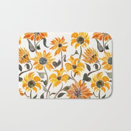 Sunflower Watercolor – Yellow & Black Palette Bath Mat