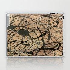 Pollock Inspired Abstract Black On Beige Laptop & iPad Skin