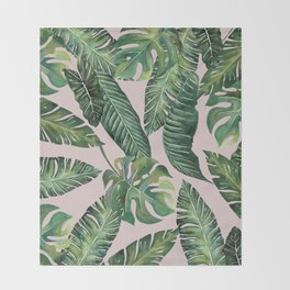 Jungle Leaves, Banana, Monstera Pink #society6 Throw Blanket