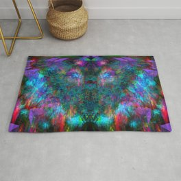 Butterfly Block Face (Cyan) (abstract, psychedelic, visionary) Rug