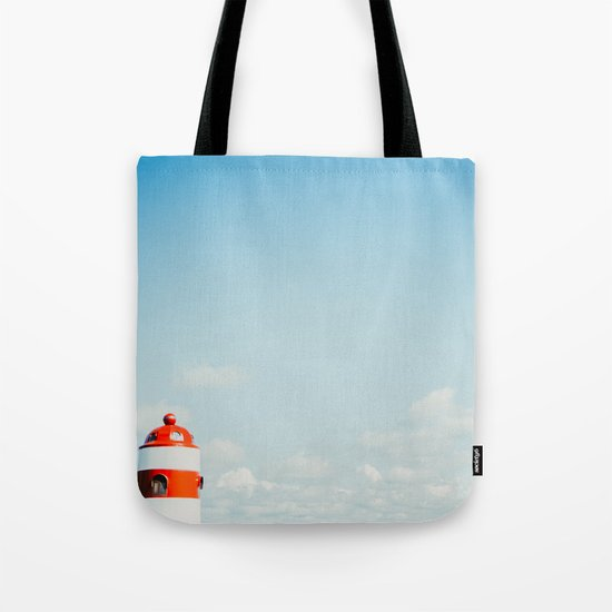 Red White Lighthouse Tote Bag